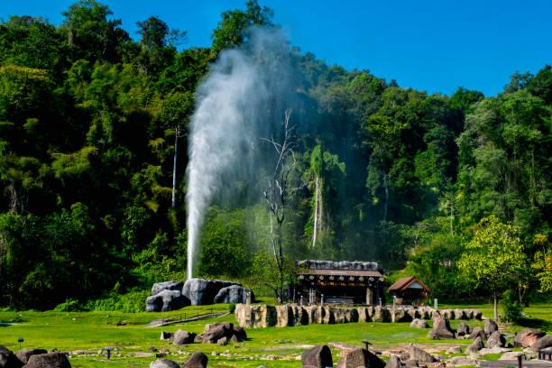 Hot Springs at Doi Pha Hom Pok National Park, Fang, Chiang mai, Thailand. stock photo