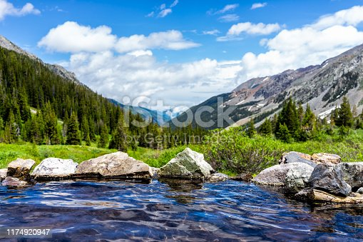 Hot springs blue pool on Conundrum Creek Trail in Aspen, Colorado in 2019 summer with rocks stones and valley view with nobody