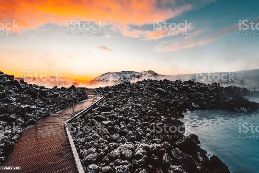 hot springs in iceland stock photo