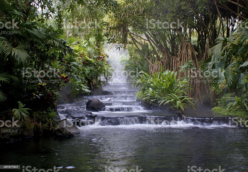 Hot Springs in La Fortuna, Costa Rica near Arenal Volcano stock photo