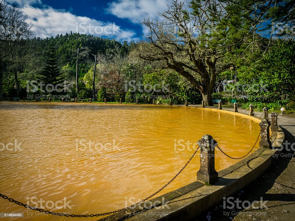 Hot springs pool stock photo