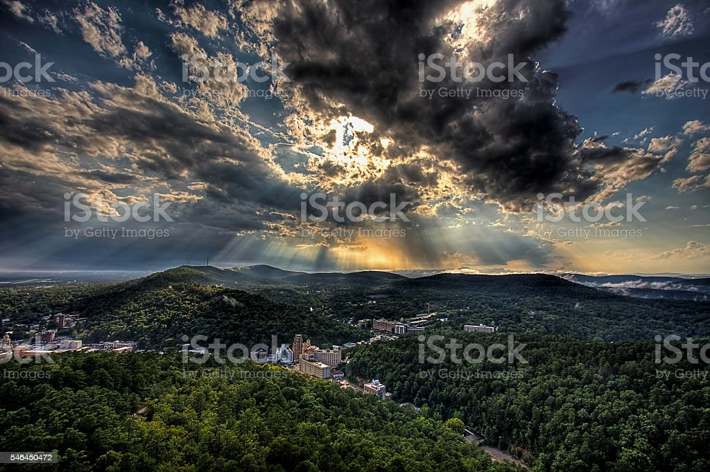 Hot Springs Sun Rays stock photo