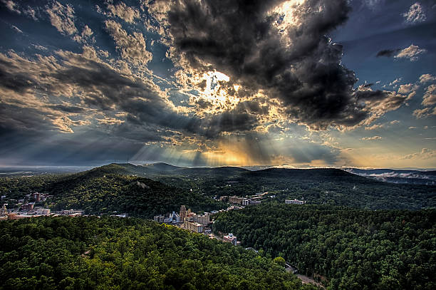 hot springs sun rays - hot spring stock photos and pictures