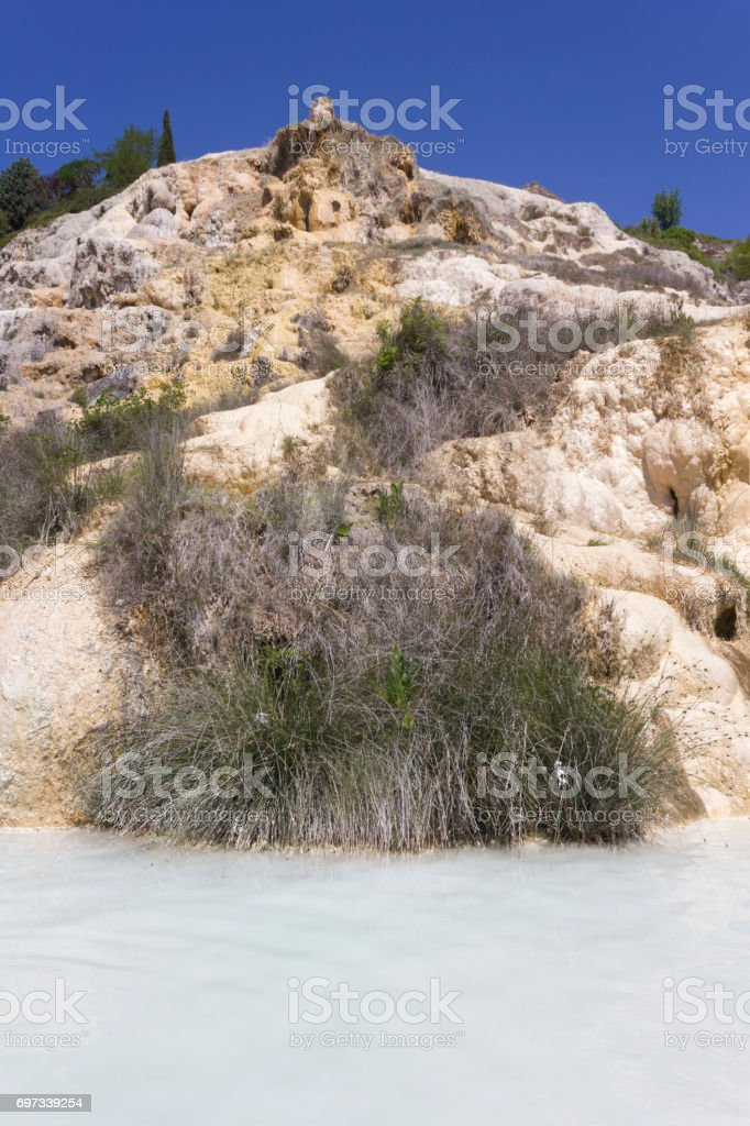 Hot springs thermal pool of Bagno Vignoni stock photo