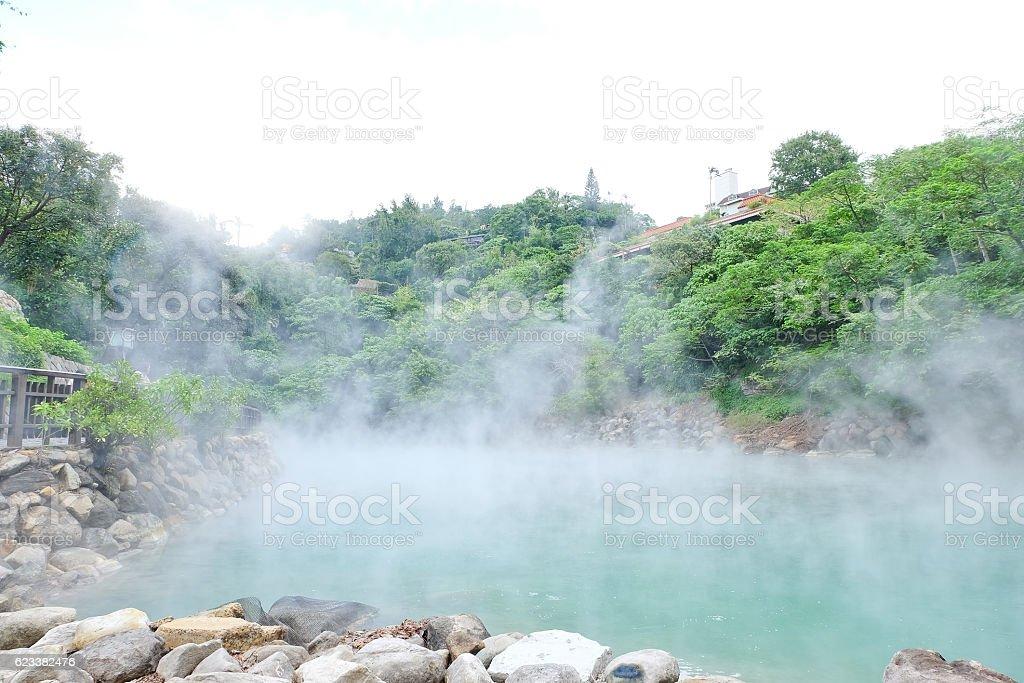 Hot steam at thermal valley, Beitou, Taipei, stock photo