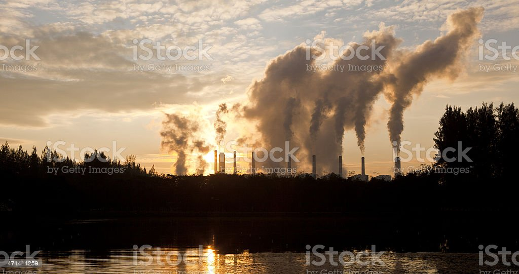 Hot steam from big chimney royalty-free stock photo