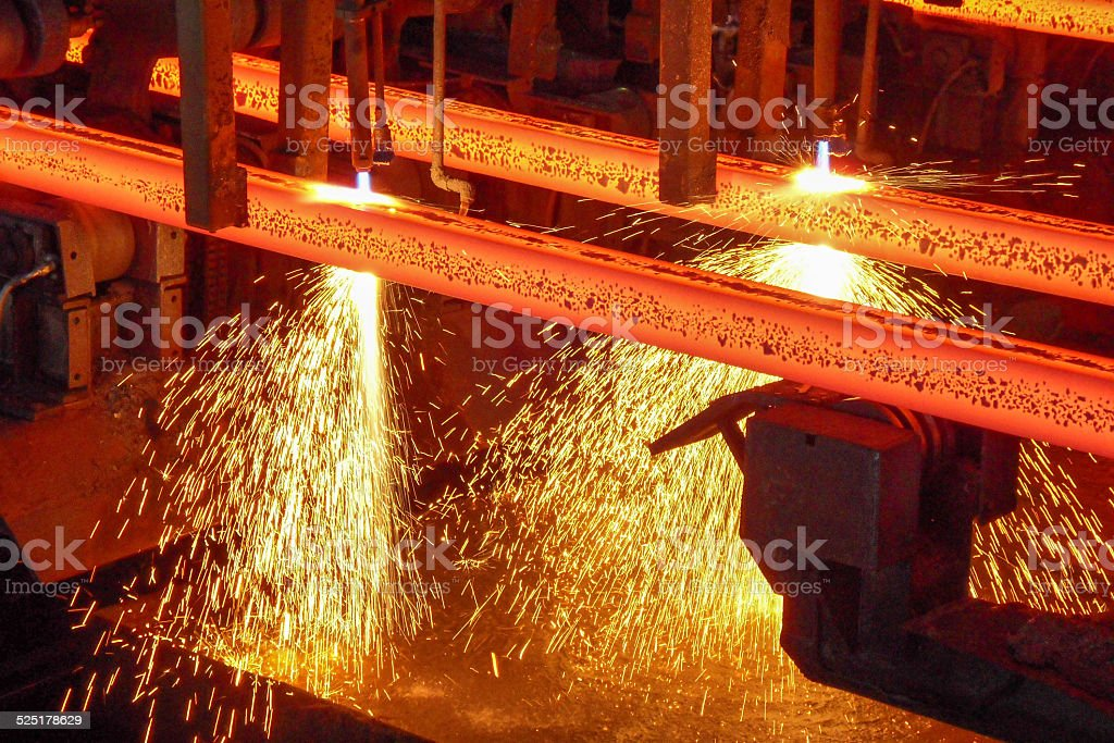 Hot Steel billets stock photo