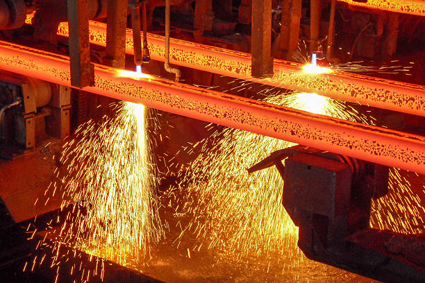 hot steel billets - metallurgy stock photos and pictures
