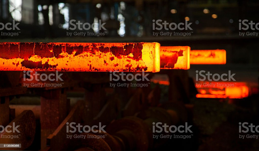 hot steel slabs stock photo