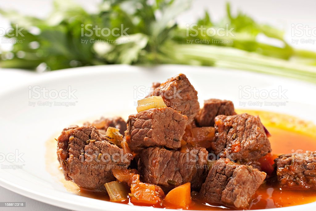 Hot stew on a plate royalty-free stock photo