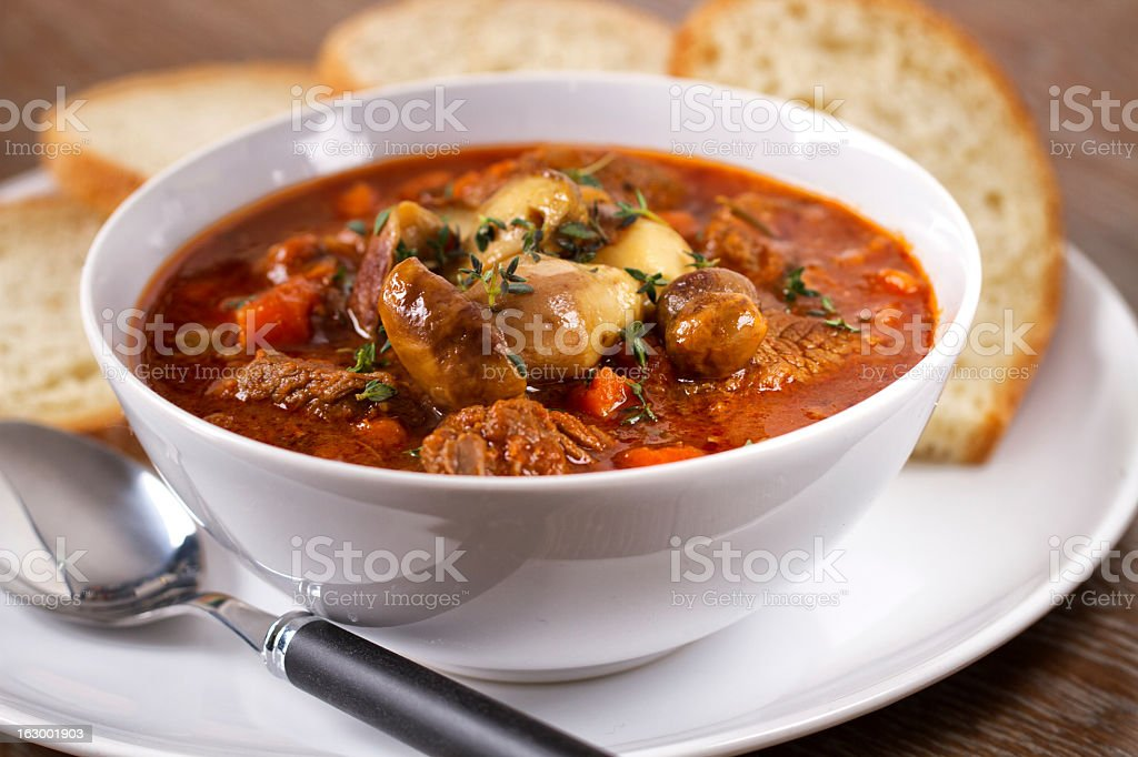 Hot stew with mushrooms stock photo