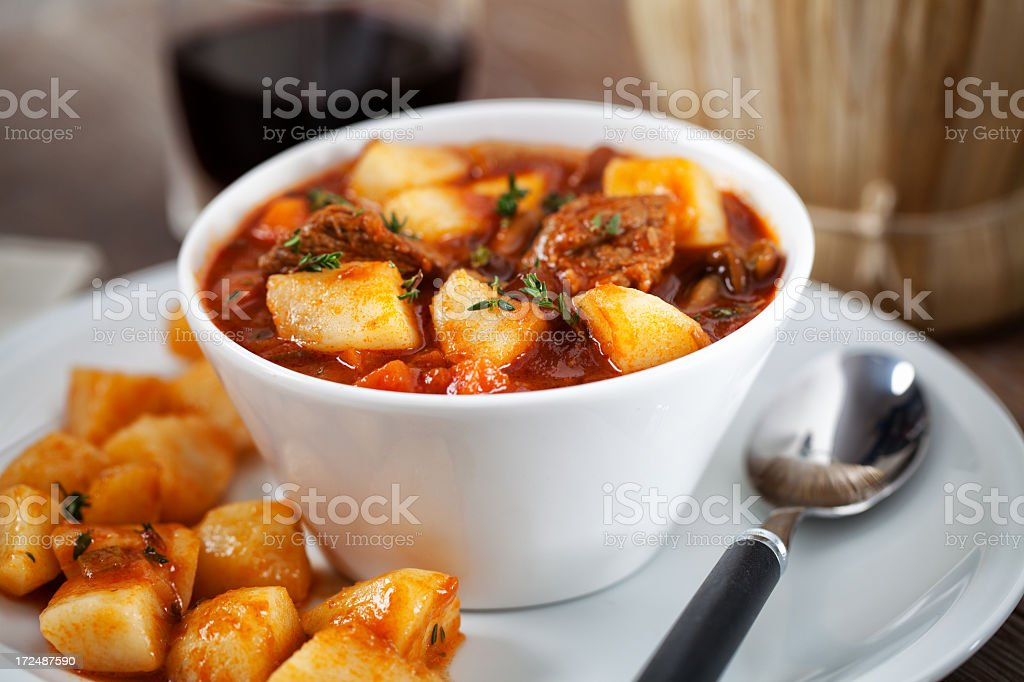 Hot stew with potatoes royalty-free stock photo
