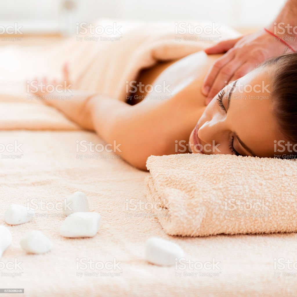 Hot stone relaxation stock photo