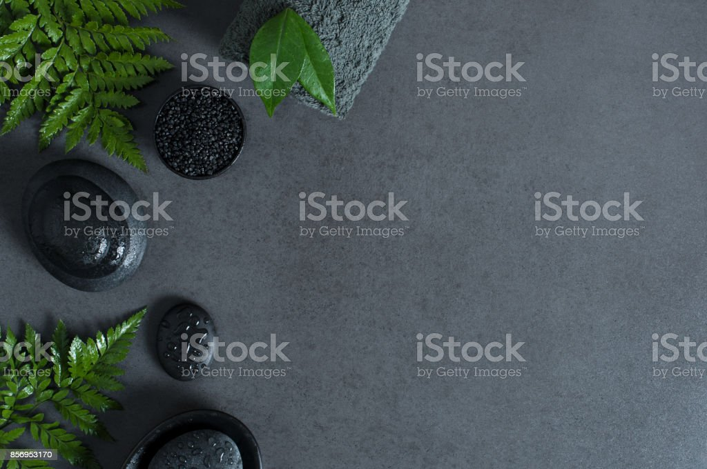 Hot stone setting copy space stock photo