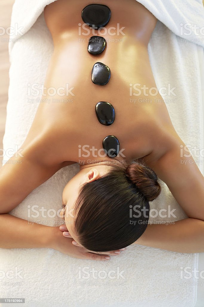 Hot stone therapy stock photo