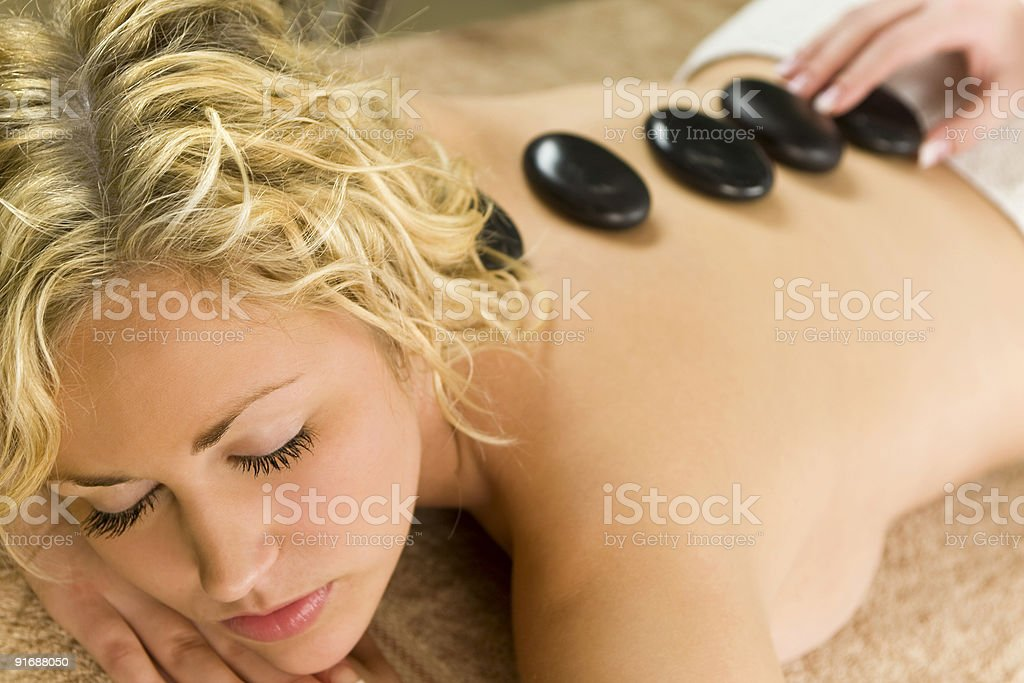 Hot Stone Treatment stock photo