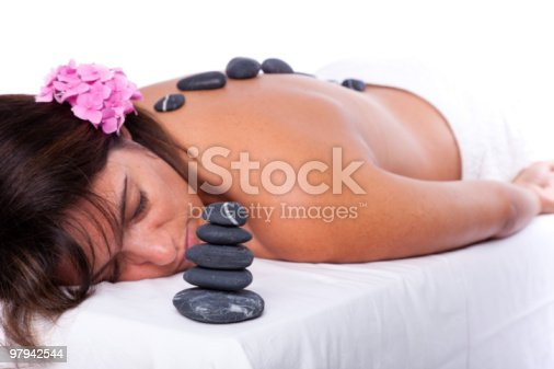 Hot Stone Treatment Stock Photo & More Pictures of Adult
