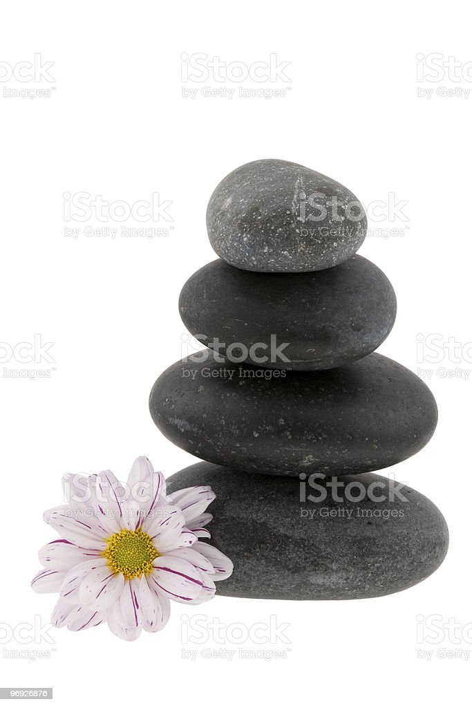 Hot stones with flower royalty-free stock photo