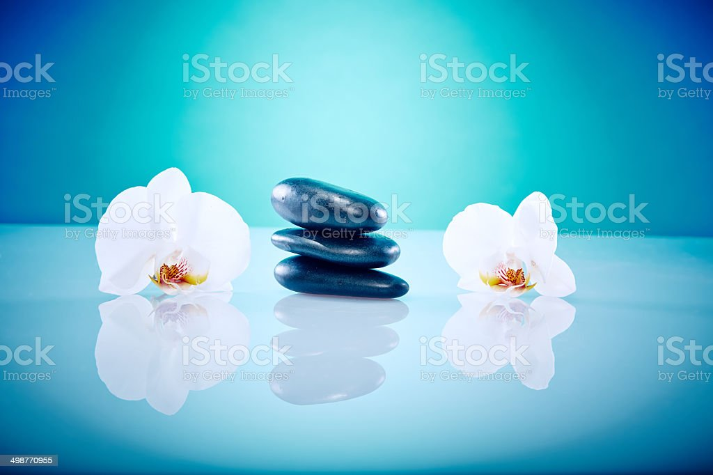 Hot stones with orchis stock photo