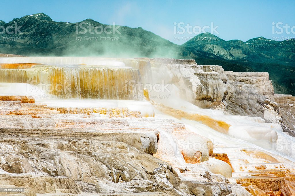 Hot sulfurous springs at Yellowstone park stock photo