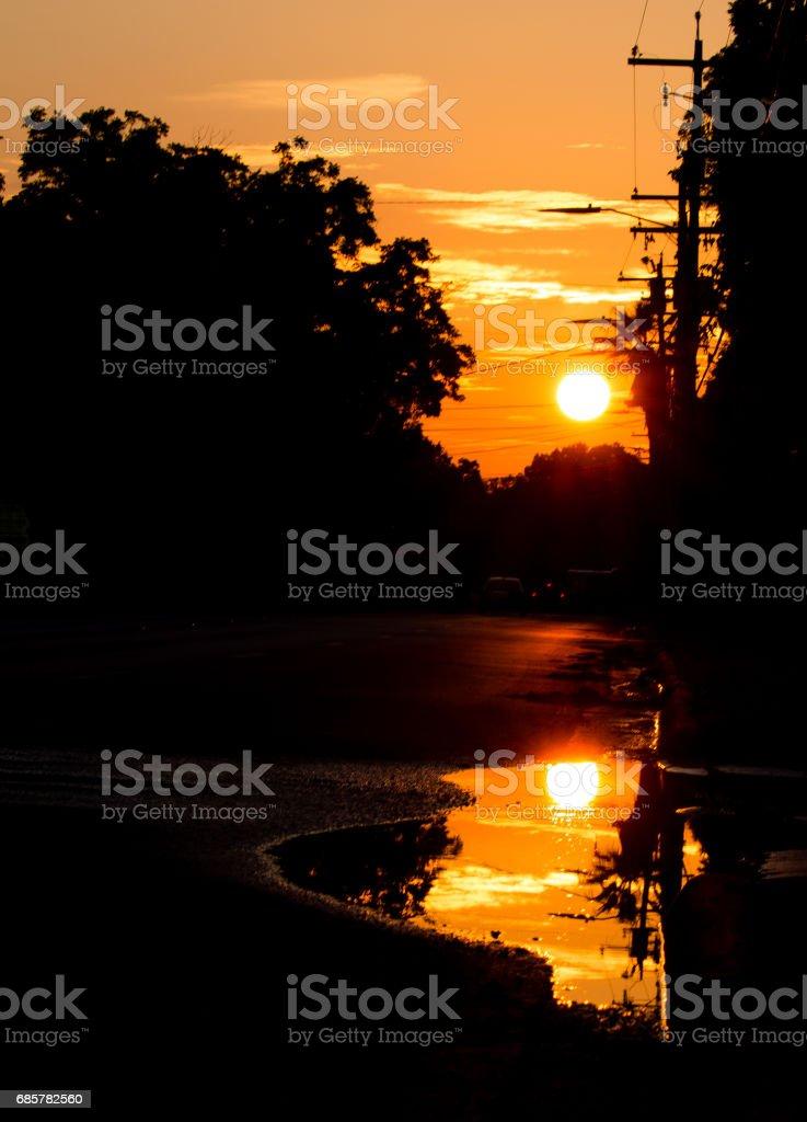 Hot Summer Sun Over Wet Street royalty-free stock photo