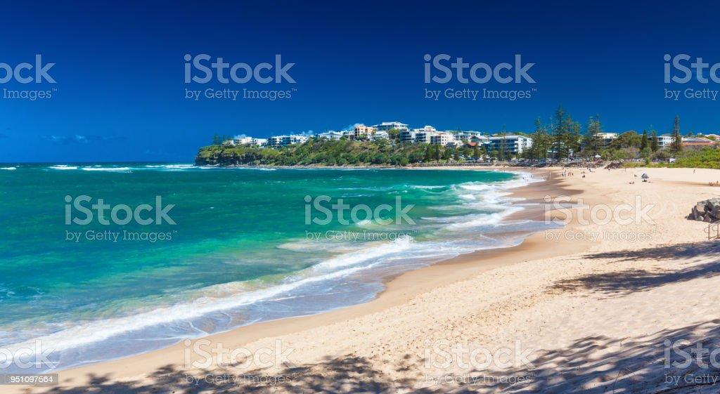 CALOUNDRA, AUS - DEC 06 2015: Hot sunny day at Dicky Beach Calundra, Queensland, Australia stock photo