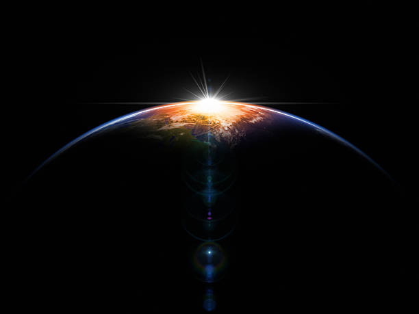 Hot Sunrise In Space Astronomical background. 3D render. planet space stock pictures, royalty-free photos & images
