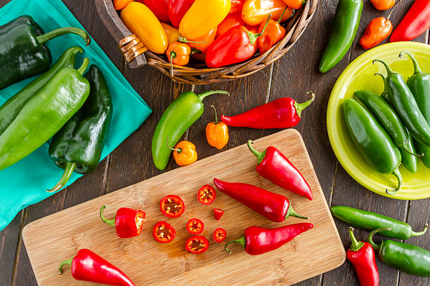 Hot Sweet and Chili Pepper Varieties stock photo