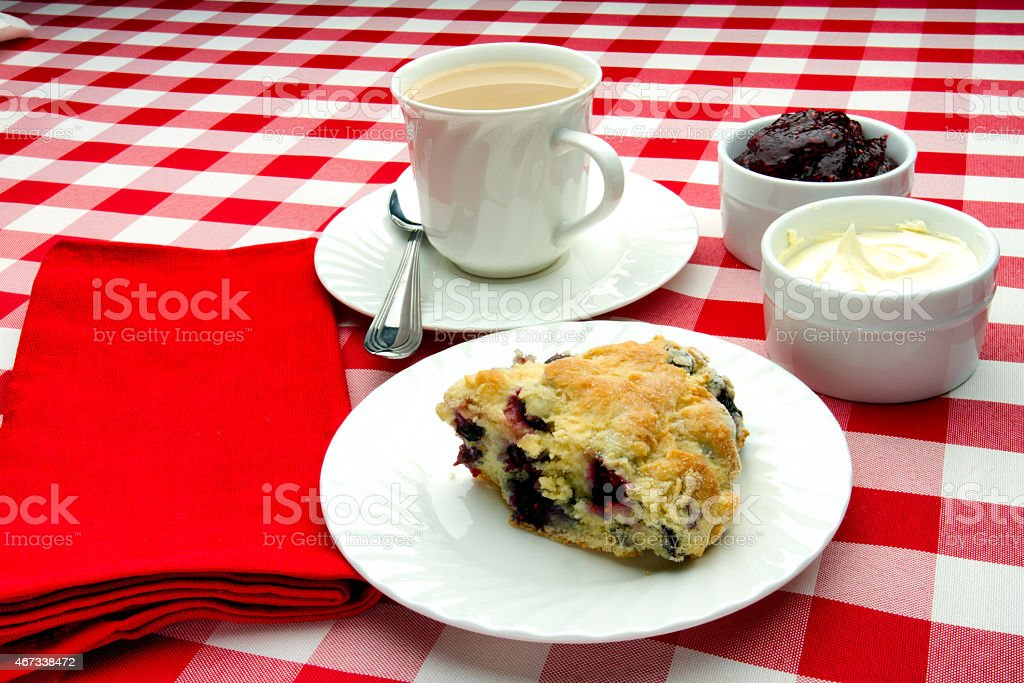 Hot Tea and Scone stock photo