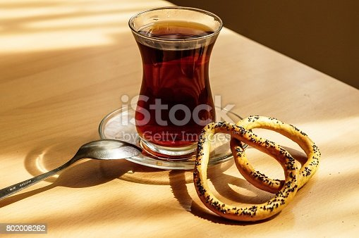 Hot tea with bagles lunch time