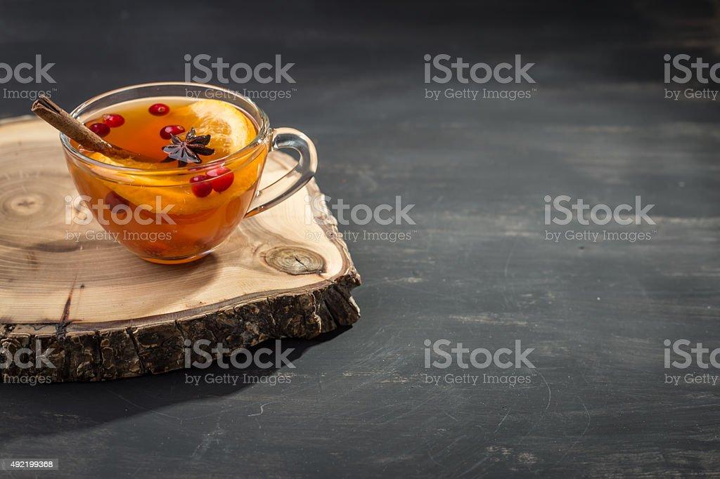 Hot tea with orange stock photo