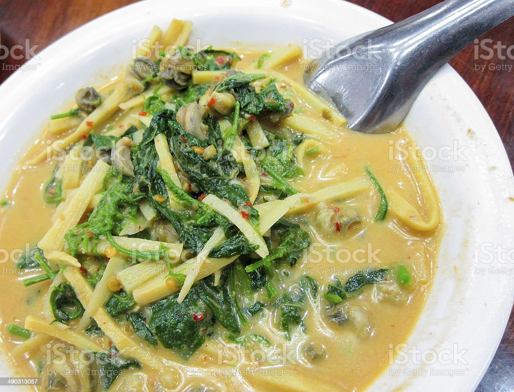 hot Thai curry with little snail shell Thailand food royalty-free stock photo