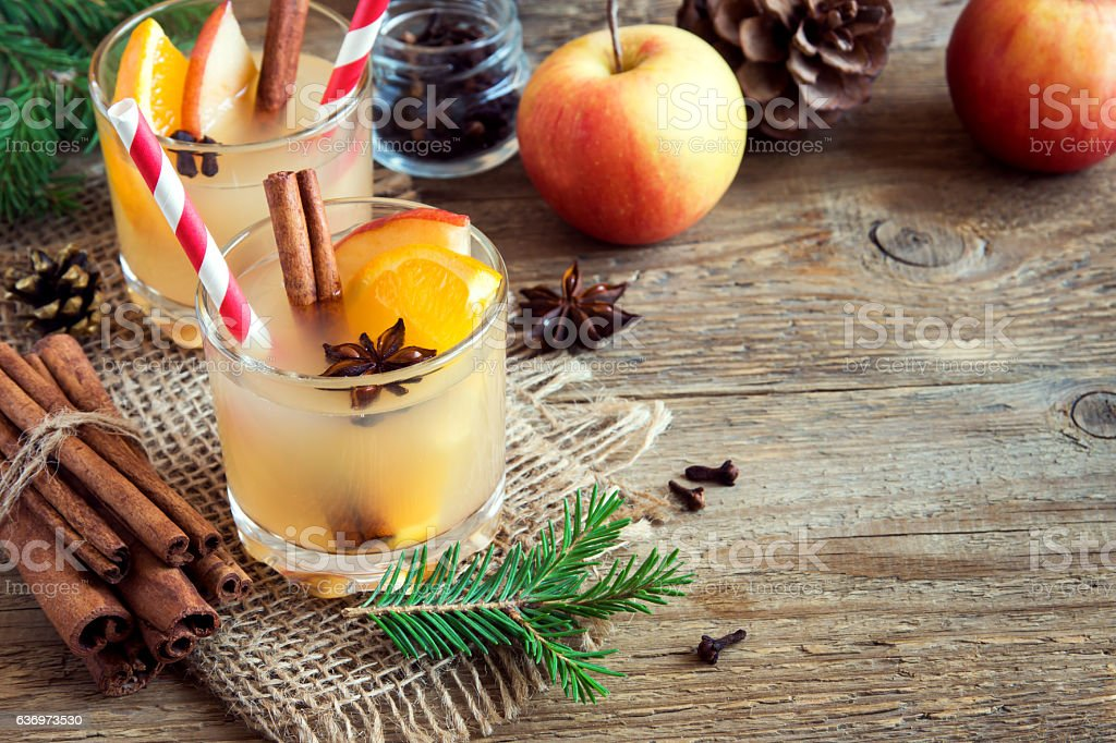 Hot toddy drink for Christmas stock photo