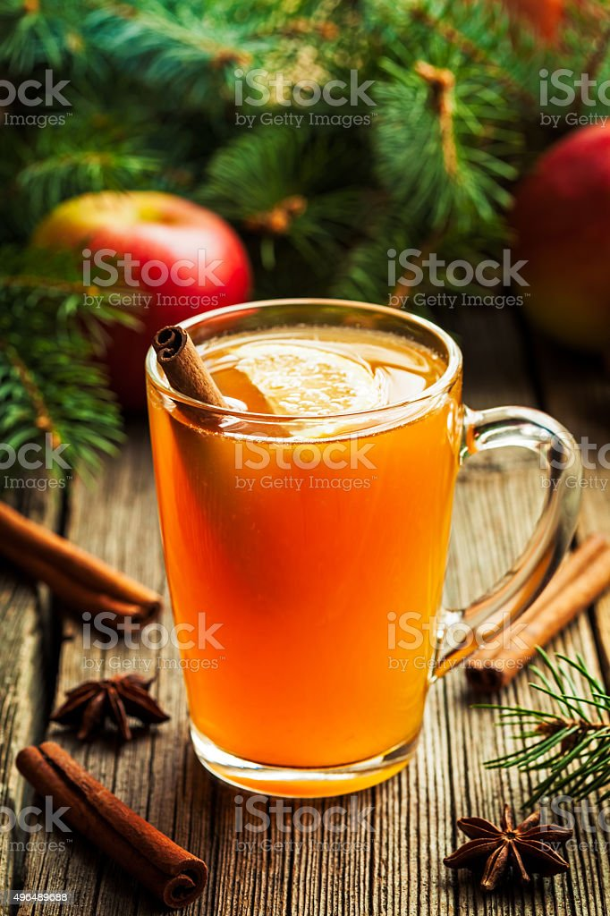 Hot toddy traditional winter alcohol warming drink recipe. Homemade christmas stock photo
