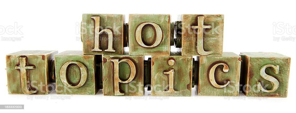 Hot Topics - Green Blocks stock photo