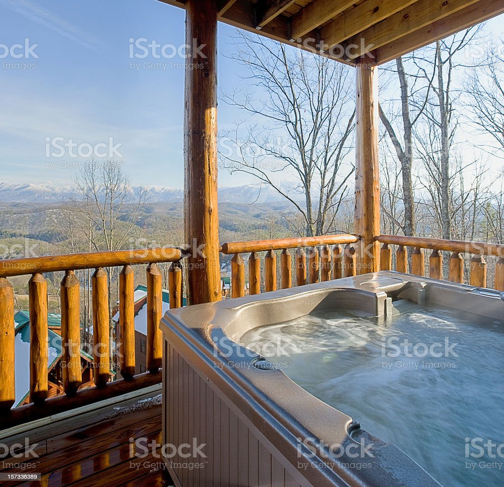 Hot tub with snowy mountain view (XXL) royalty-free stock photo