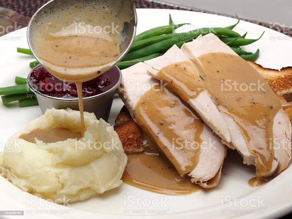 Hot turkey sandwich which gravy and mashed potato royalty-free stock photo