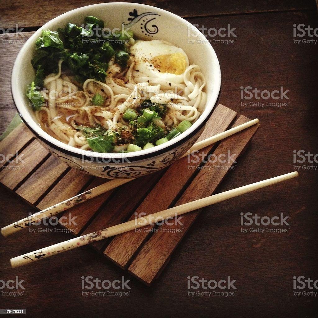 hot udon noodle soup stock photo