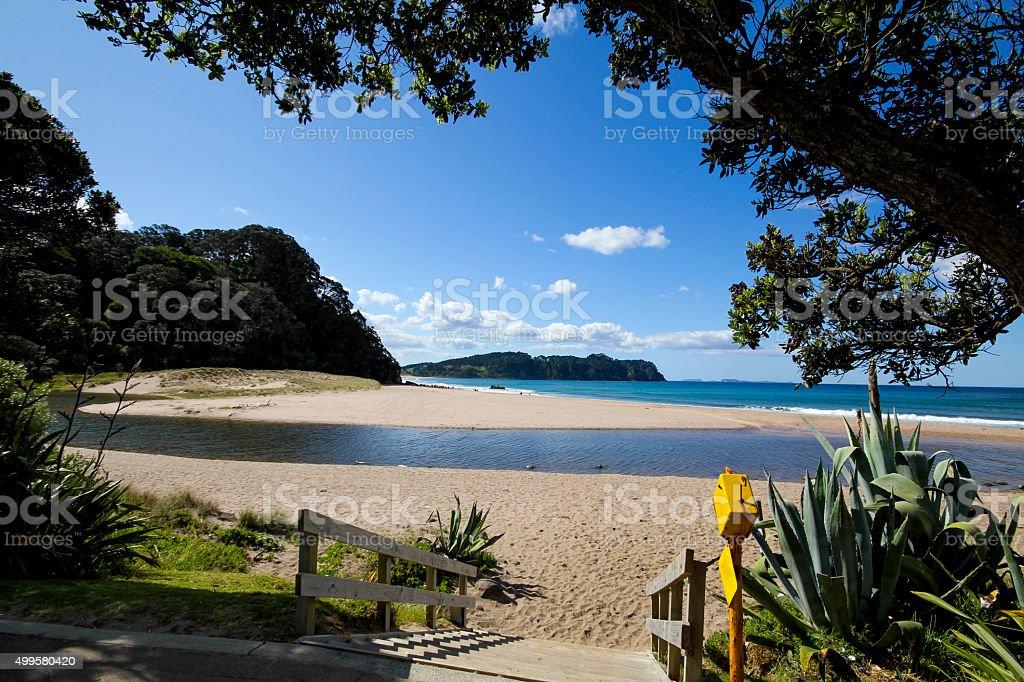 hot water beach New Zealand stock photo