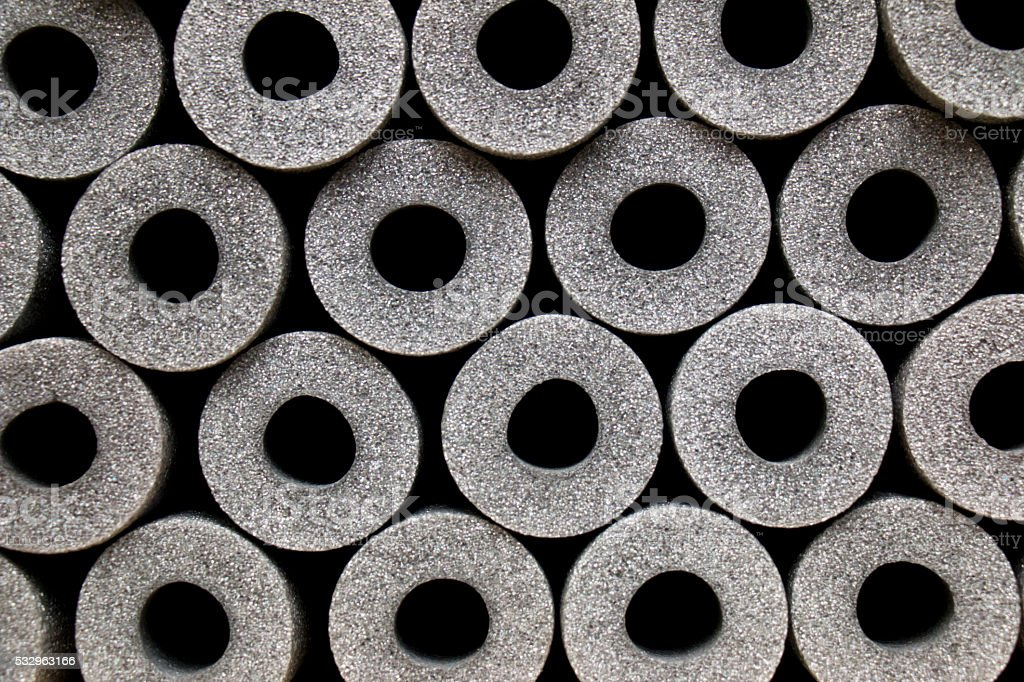 Hot Water Pipe Insulation Sleeves Stock Photo - Download