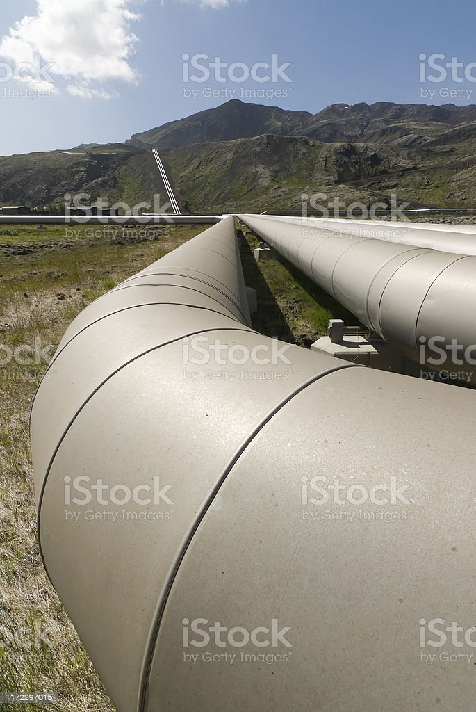Hot water pipes, ver royalty-free stock photo