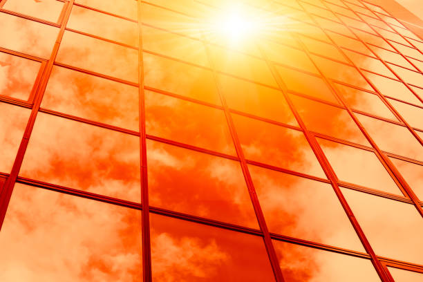 hot weather summer season sunny reflect on glass windows building - heat haze stock pictures, royalty-free photos & images