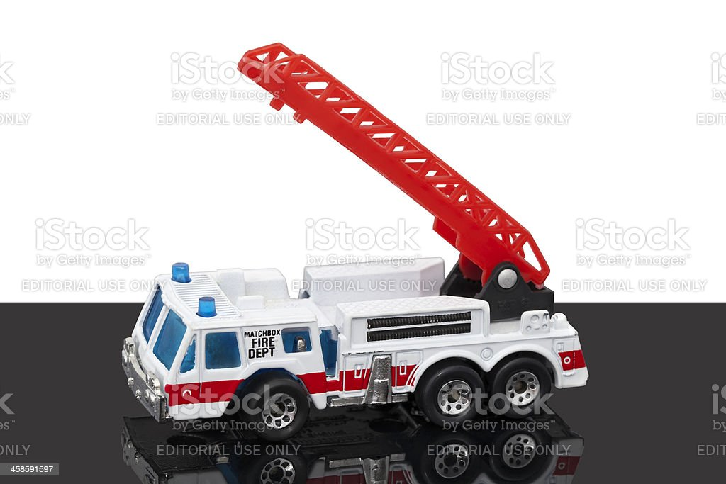 Hot Wheels Matchbox Hook and Ladder toy firetruck stock photo