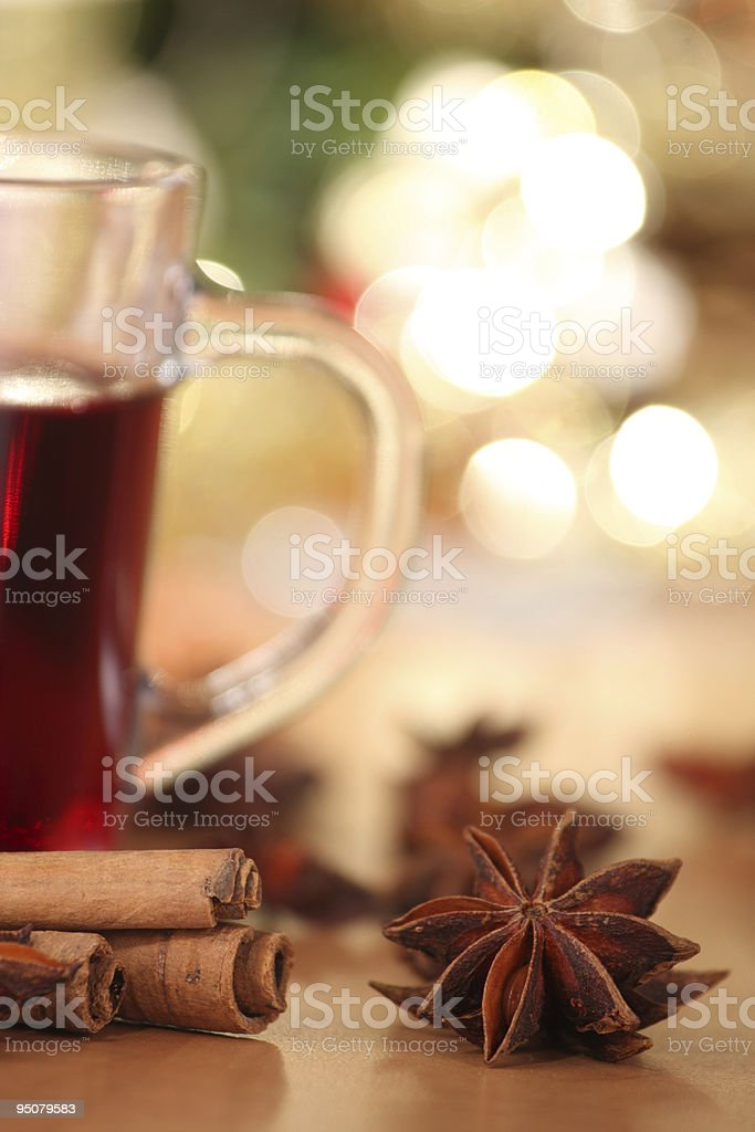 hot wine punch and star anise royalty-free stock photo