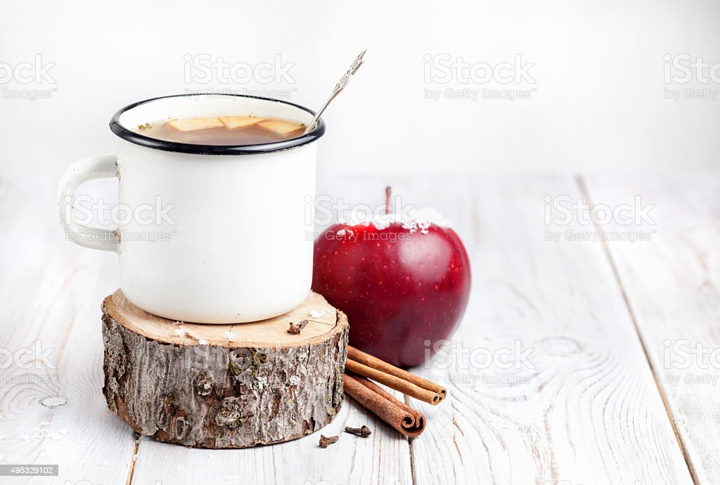 Hot winter beverage from apple stock photo