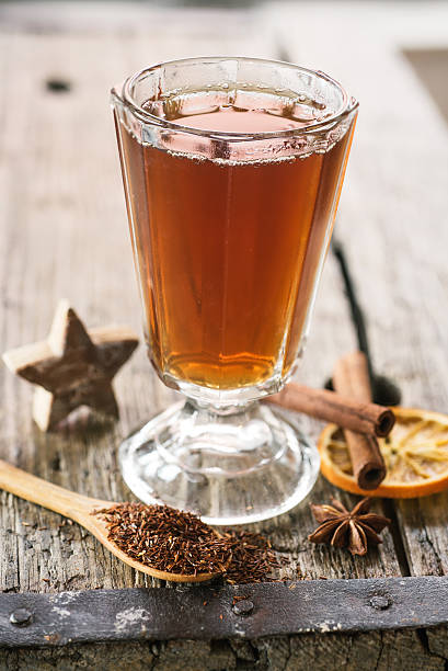Hot winter spiced tea stock photo