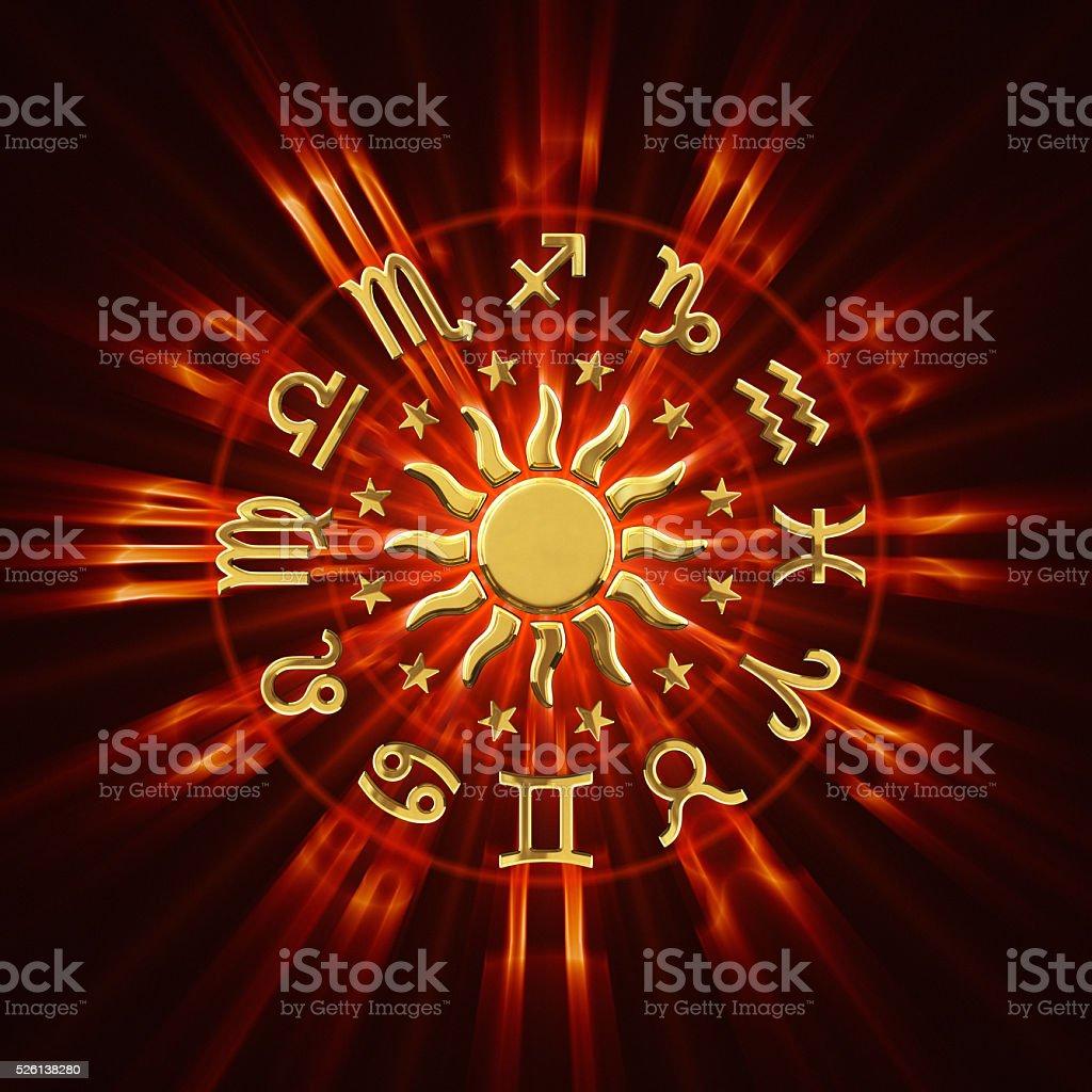 Hot Zodiac Wheel stock photo
