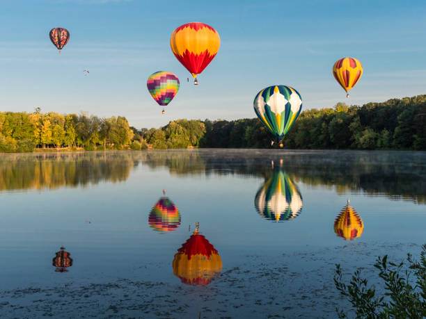 Hot-Air Balloons Albany Oregon Northwest Art Air Festival Over Water stock photo
