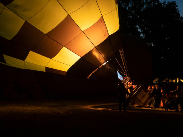 Hot-Air Balloons Flames Art Air Festival Albany Oregon Night Glow stock photo