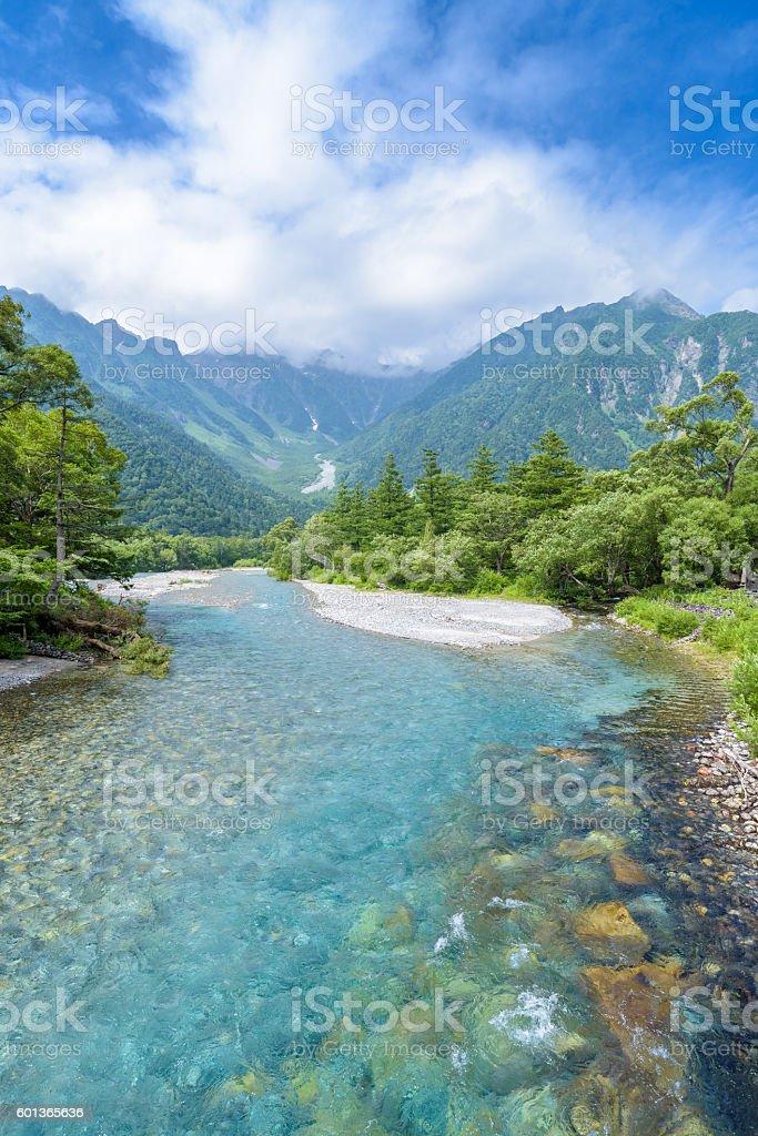 Hotaka Mountain and Azusa River in Kamikochi, Nagano, Japan stock photo